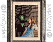Wicked Witch and Dorothy Wizard of Oz on Vintage Upcycled Dictionary Art Print Book Art Print Recycled Repurposed