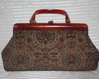 Vintage 1950's Tapestry Purse w/ Bakelite Handle