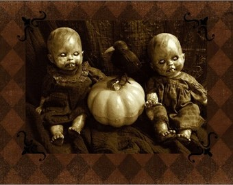 Halloween Cards 5x7 Greeting Horror Haunting Monster Zombie Scary Altered Art Doll Print Halloween By L.Cerrito Dark Art