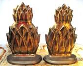 Vintage brass pineapple bookends Sadak
