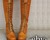 Vintage 70s Frye Boots size 8 Lace up Boots Brown Leather Lace Up Hippie Boho Campus Riding Knee Boots 8