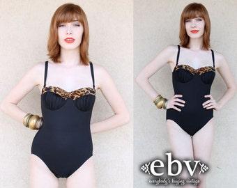 Vintage Swimsuit Black Swimsuit Cheetah Swimsuit Pin up Swimsuit Bombshell Vintage 70s Cheetah Leopard Black One Piece Bathing Suit XS S