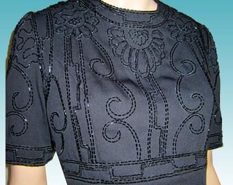 Mysterious Vntg HAND BEADED Little Black Dress UNWORN wTags by Deborah Laws Bust 38