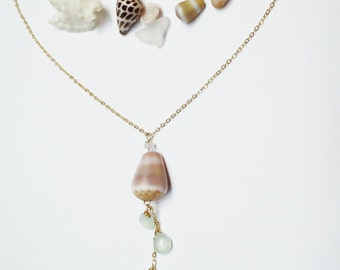 Hawaiian Cone Shell Long 14k Gold Filled Chain Necklace