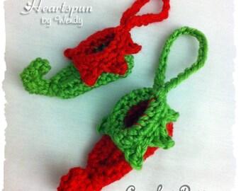CROCHET PATTERN to make a Mini Elf Shoe Christmas Ornament, PDF Format, Instant Download