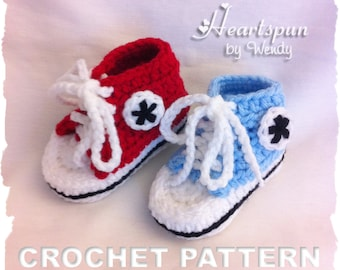 CROCHET PATTERN to make Converse Baby Shoes in 4 sizes, For Boys or Girls, PDF Format, Instant Download.