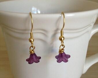 Dark Purple Flower Dangle Earrings