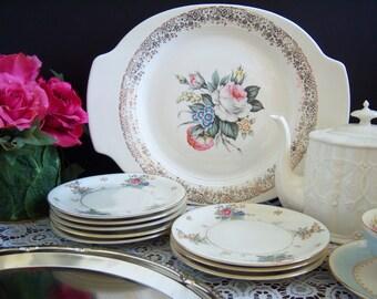 Vintage China - Salem China - Rose Plates -  Flower Motif Platter and 8 Dessert Plates - Sandwich Plates - Royal Rose Bouquet - Shabby Chic