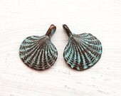 4pc Shell metal charm, seashell beads, Green patina on copper, shell charms, greek beads, Lead Free, nautical - F124
