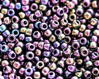 Seed beads, japanese, TOHO, size 11/0, Metall Iris Purple, N 85, rocailles, purple glass beads - 10g - S059