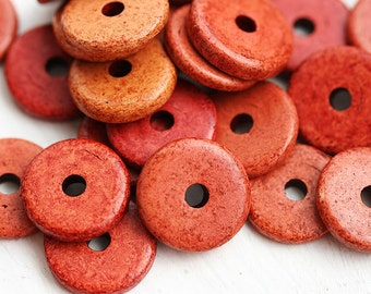 25Pc Greek Ceramic beads - Tile, rust orange, brick red - 13mm spacer, washer, round, rustic - 0813
