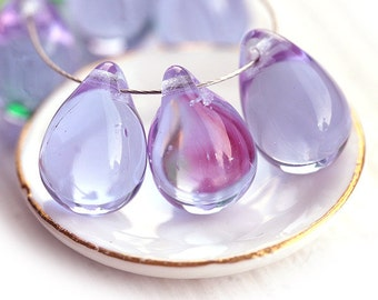10x14mm Lilac Teardrops, czech glass light violet large Briolettes, lavender drop beads - 6Pc - 1091