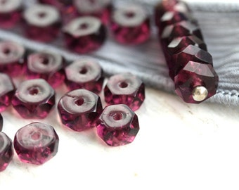 Purple Rondelle beads, fire polished czech glass spacers, rondels, gemstone cut, purple beads - 6x3mm - 25Pc - 1018
