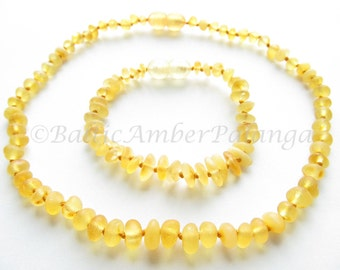 Baltic Amber Teething Necklace and Bracelet/Anklet, Raw Unpolished Lemon Color Rounded Beads