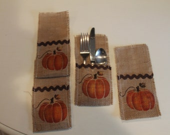 Fall Burlap Silverware Holder. Pumpkin...Country Decor..Burlap Decor...Housewarming Gift..Set of 4...Home Decor...Fall Decor
