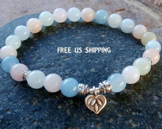 Heart Mending Morganite with fine silver Lotus,  Yoga Bracelet, Meditation bracelet, Reiki Charged, free shipping