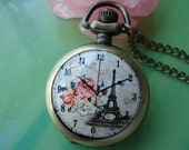 Small antique bronze painted Ceramics peony flowers and towers times patterns Round Pocket Watch Locket Necklaces with Chains