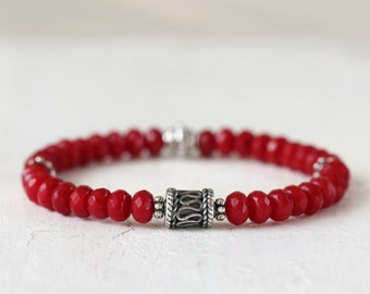 Red Coral and Sterling Sllver Stretch Bracelet