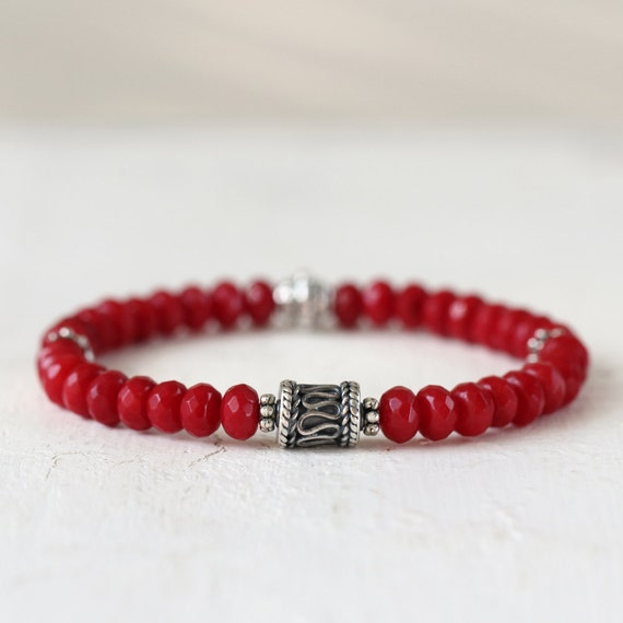 Red Coral Bracelet - Gemstone Stretch Bracelet - Silver and Red Stone Bracelet - Stacking Bracelet - Coral Jewelry - Bracelet for Her