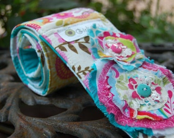 Camera strap cover,25% off with coupon code, Reversible Dslr - 2 Lens Cap Pockets, Padding - Shabby Chic Floral with Teal Chevron