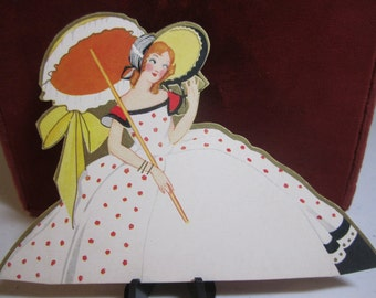 Vintage 1930's unused  gold gilded die cut place card southern belle in large bonnet holding a parasol