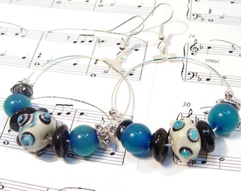 Under the Sea Hoop Earrings with Glass Lampwork Beads