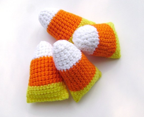 Crochet Candy Corn Fall Halloween Thanksgiving Holiday Decoration Ornament Country Bowl Filler Shelf Sitter Accent Set of 4