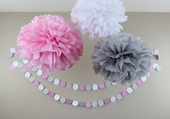 pink gray and white baby shower decorations tissue paper pom and