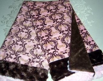 Elegant Brown/Gold Scrolls On A Rich Pink Palette w/Brown and Pink Fur Trim Minky Baby Toddler Blanket