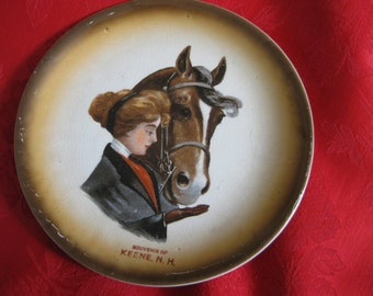 Antique Horse and Rider NH Souvenir Plate