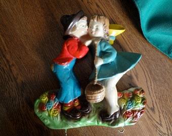 Colorful Antique Chalk Wall Key Keeper - Jack & Jill - Young Man Kissing Girl