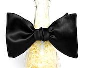 Handmade Black Satin Self Tie Bow Tie