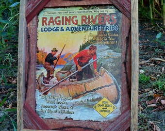 """Barnwood Frame with decorative """"Raging Rivers"""" canoeing photo"""