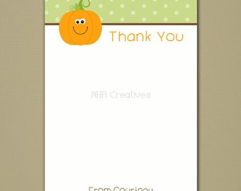 "Pumpkin Thank You Note - 5x7"" Flat Card - Personalized DIY Printable Digital File"