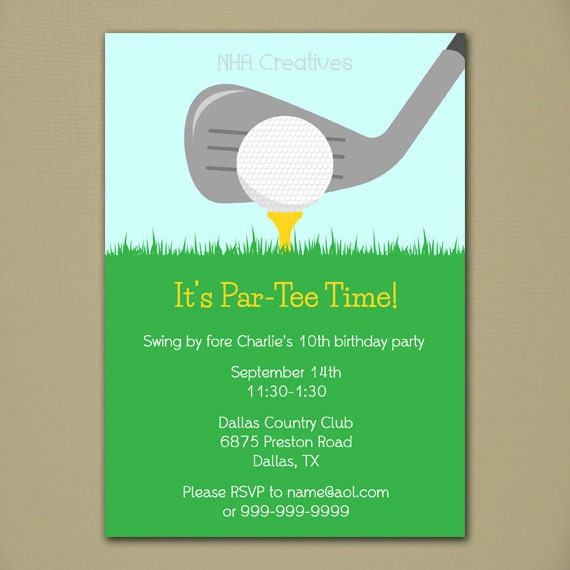 Golf Party Invitation Personalized DIY Printable Digital