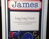 PERSONALIZED/Custom PICTURE frame matting Baby Boy Whale- matting only
