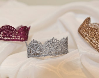 Quick Ship Item:  Prince/ss Newborn Crown Prop Any color Baby Infant photography Gold Silver Plum or White small mini size head fits all