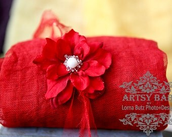 2 item set  gorgeous red gauze tattered edge wrap 5 feet gauze newborn swaddle & flower head tie 2 item set textured open weave cotton wrap