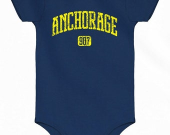 Baby One Piece - Anchorage 907 Infant Romper - NB 6m 12m 18m 24m - Anchorage Baby - Alaska - 3 Colors