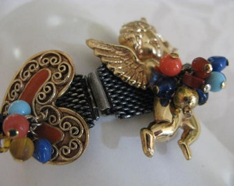 Estate Rare French signed ST TROPEZ Cherub&enameled heart Bracelet