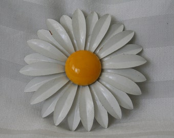 HUGE White Enamel Daisy Brooch