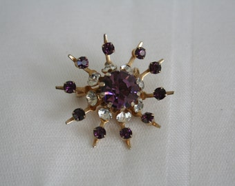 Coro Purple Rhinestone Brooch