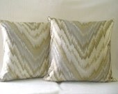 "Pillow Cover, Accent Decorative Throw Pillow Shades of Soft Greens, Off White Fits 16"" x 16"" Insert"