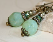 Mint Green earrings, Milky green glass earrings, Boho chic jewelry