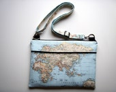 Laptop Bag Strap Blue World Asia Handmade Babimini