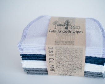 Baby Wipes Cloth Wipes Set of 20  -  Baby Wipes - Reusable Flannel Wipes ( Lilac - Blue - White - Grey)