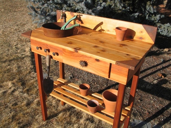 Potting Bench Faucet Sink And Drawer With Metal Corners
