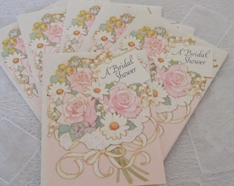 Vintage Bridal Shower Invitations Cards set of 6