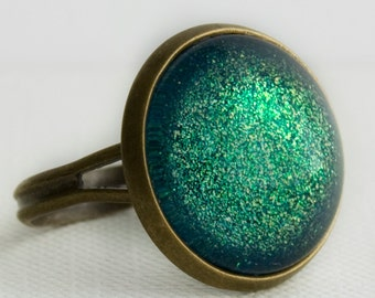 Seafoam Castle Ring in Antique bronze - Turquoise, Green and Yellow Glitter Ring