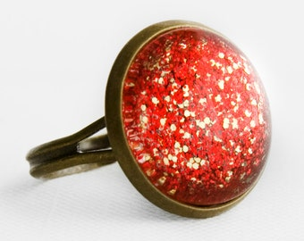 Red and Gold Glitter Ring in Antique Bronze - Glittery Bright Red and Gold Cocktail Ring